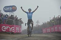 22th May 2021, Cittadella, Padua, Italy; Giro D Italia stage 14, Cittadella to Monte Zoncolan; Eolo - Kometa Fortunato, Lorenzo crosses the finsh line as winner of stage in Monte Zoncolan