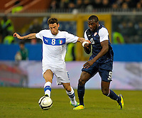 Claudio Marchisio (l, ITA), Jozy Altidore (r,USA), during the friendly match Italy against USA at the Stadium Luigi Ferraris at Genoa Italy on february the 29th, 2012.