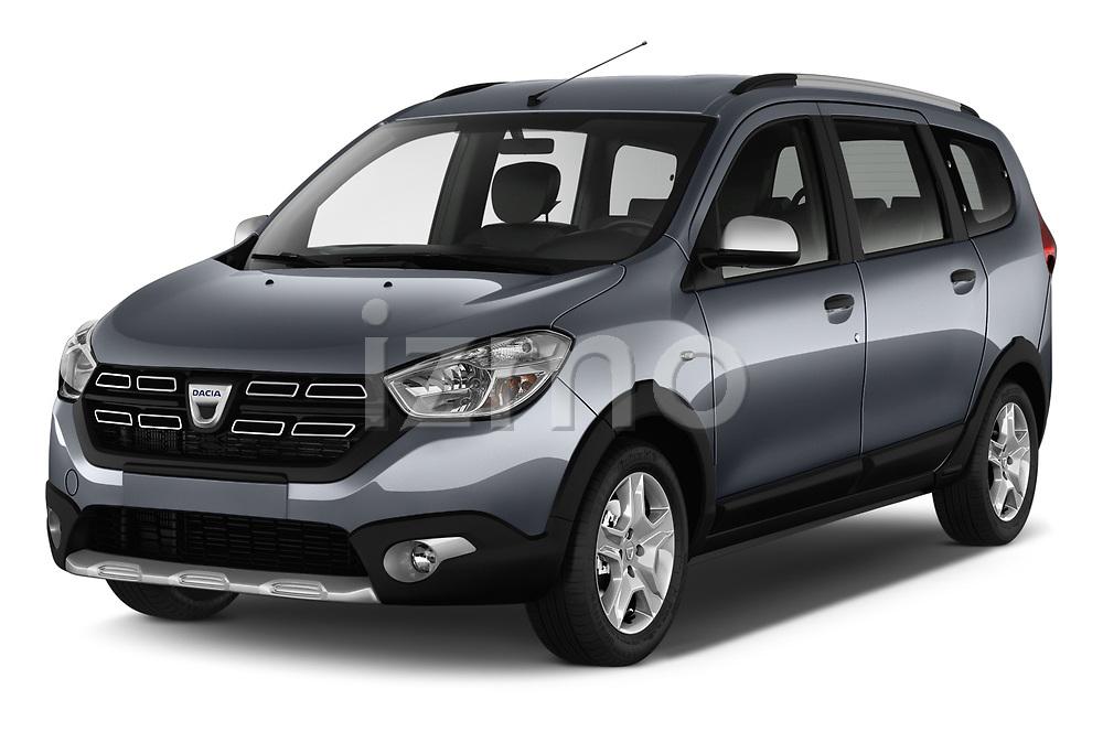 2017 Dacia Lodgy Stepway 5 Door Mini Van angular front stock photos of front three quarter view