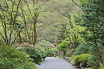 Garden Path in strolling garden.  The Japanese Garden in Portland is a 5.5 acre respit.  Said to be one of the most authentic Japanese Garden's outside of Japan, the rolling terrain and water features symbolize both peace and strength. Public, city facility