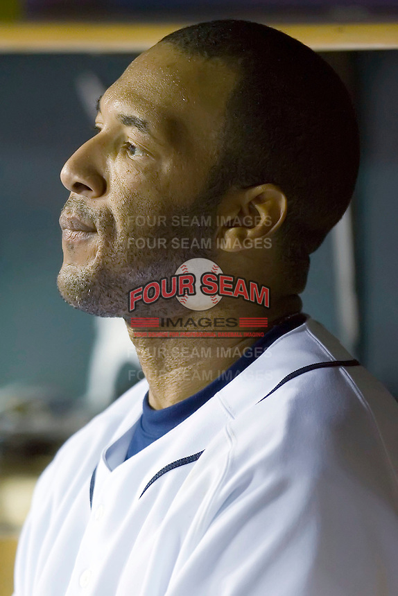 A frustrated Gary Sheffield (3) of the Detroit Tigers watches the action from the dugout at Comerica Park in Detroit, MI, Sunday, April 27, 2008.