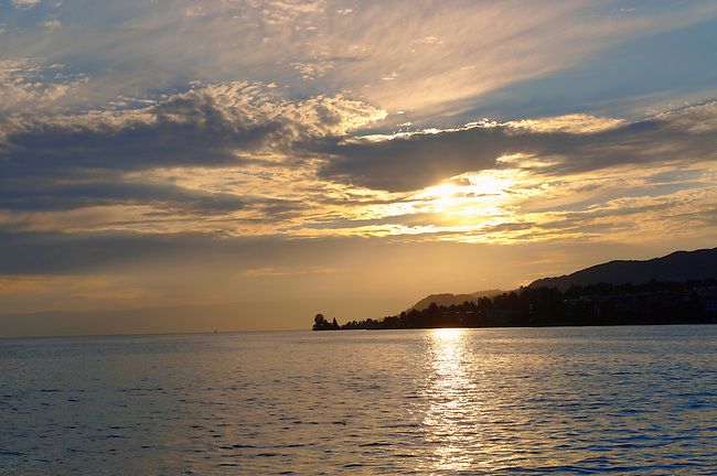 Sunset over Lac Leman (lake Geneva) - Montraux Switzerland