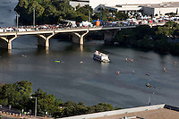 View of the Congress Avenue Bridge during the annual Bat Fest, an annual festival with 3 live music stages, more than 75 arts & crafts vendors, children's activities, a bat costume contest and other bat activities.