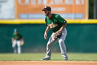 Savannah Sand Gnats second baseman Jonathan Johnson (8) on defense against the Hickory Crawdads at L.P. Frans Stadium on June 14, 2015 in Hickory, North Carolina.  The Crawdads defeated the Sand Gnats 8-1.  (Brian Westerholt/Four Seam Images)