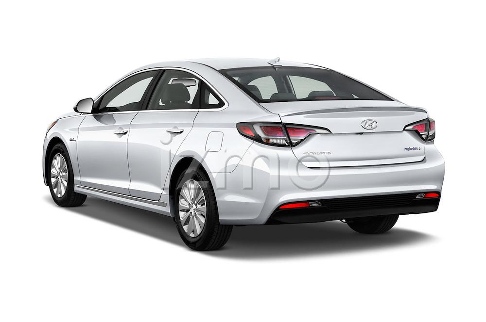 Car pictures of rear three quarter view of 2016 Hyundai Sonata Hybrid SE 4 Door Sedan Angular Rear