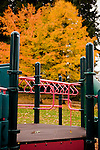 Tots are gone, fall is here, playground windy and empty.