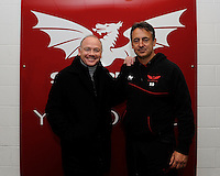 Nigel Davies, Head Coach of the Scarlets (right) with Ieuan Evans (former Wales internantional and British Lions) after the first round match between Scarlets and Leicester Tigers at Parc y Scarlets (Photo by Rob Munro, Fotosports International)