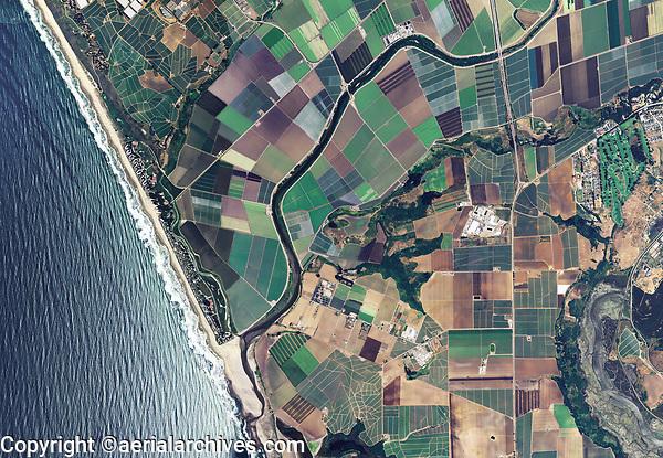 aerial photo map of coastal farming near Watsonville, Santa Cruz County, California