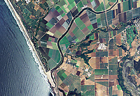 aerial photo map of coastal farming near Watsonville, Santa Cruz County, California
