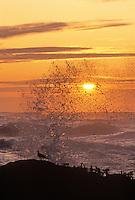 Sunset and waves at Cape Perpetua, Oregon.