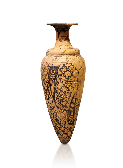 Minoan conical rhython decorated with dolphins against a net pattern , Special Palatial Tradition, Pseira  1500-1400 BC BC, Heraklion Archaeological  Museum, white background.