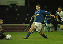 13/12/03          Copyright Pic : James Stewart.File Name : stewart008-ayr v st john.LUDOVIC ROY SAVES AT THE FEET OF MACDONALD....Payment should be made to :-.James Stewart Photo Agency, 19 Carronlea Drive, Falkirk. FK2 8DN      Vat Reg No. 607 6932 25.Office     : +44 (0)1324 570906     .Mobile  : +44 (0)7721 416997.Fax         :  +44 (0)1324 570906.E-mail  :  jim@jspa.co.uk.If you require further information then contact Jim Stewart on any of the numbers above.........