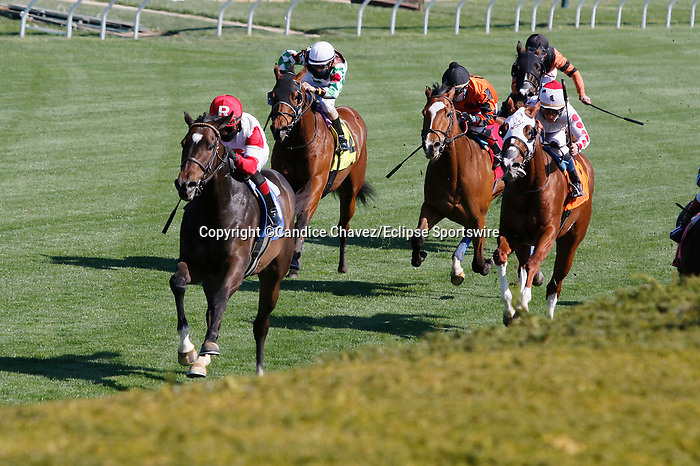 April 02, 2021: #3 Chasing Artie and jockey Joel Rosario win the 2nd running of the Palisades Turf Sprint $100,000 for owner Ramsey Farm and trainer Wesley Ward at Keeneland Racecourse in Lexington, KY on April 02, 2021.  Candice Chavez/ESW/CSM