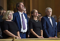 Family members of Paul Gerin-Lajoie attend his funeral in Montreal, Thursday, August 9, 2018.THE CANADIAN PRESS/Graham Hughes
