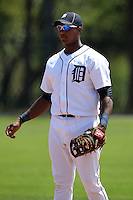 Detroit Tigers minor league player Juaner Aguasvivas #29 during a spring training game against the Houston Astros at Tiger Town on March 23, 2011 in Lakeland, Florida.  Photo By Mike Janes/Four Seam Images