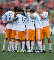 18 July 2009: Houston Dynamo players huddle prior to the start of the second half during a game between the Toronto FC and Houston Dynamo..The game ended in a 1-1 draw..