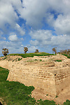 Israel, the dry moat of the Crusader town Arsour at the Apollonia National Park