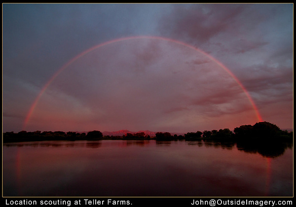 Boulder photo tours. <br /> A very rare full rainbow at sunrise. Here's where knowing exactly where to go is a big help. Boulder tours.