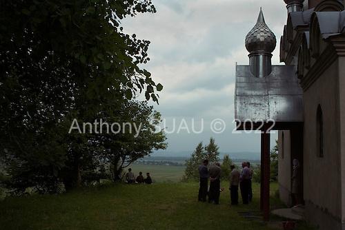 Modyorovsh, Ukraine.June 5, 2005 ..Russian Orthodox church that over looks the valley into the Ukraine. It is on the Romanian border.