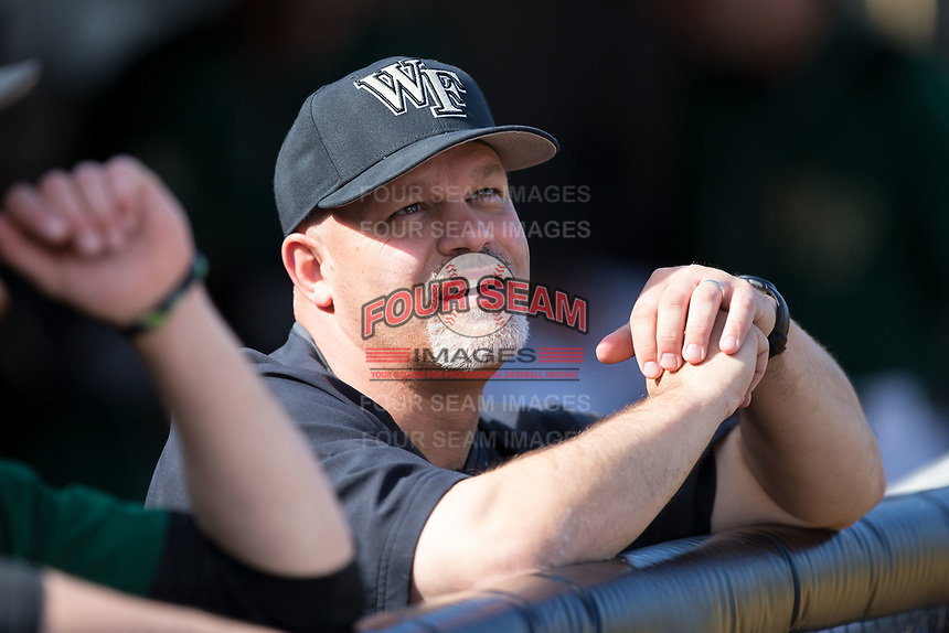 Wake Forest Demon Deacons trainer Jeff Strahm prior to the game against the Louisville Cardinals at David F. Couch Ballpark on March 17, 2018 in  Winston-Salem, North Carolina.  The Cardinals defeated the Demon Deacons 11-6.  (Brian Westerholt/Four Seam Images)