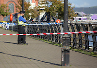 Pictured: The police scene at Swansea Marina, Wales, UK. Thursday 14 September 2017<br /> Re: A body has been recovered from the water in Swansea Marina.<br /> South Wales Police was called about a possible sighting of a body just after 13:30 on Thursday.<br /> The emergency services were sent to the scene and a body was recovered a short time later.<br /> No information about the person's gender or identity has been released.