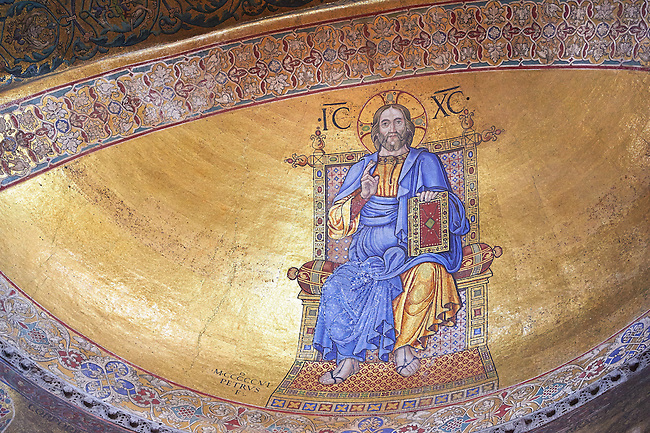 Moasic on the apse bowl-vault of Jesus Christ Pantocrator, lord of the universe, is a 1506 reworking of the original Byzantine type image by a renaissance master mosaicist.