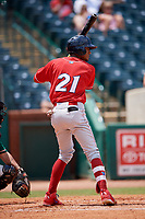 Lakewood BlueClaws second baseman Daniel Brito (21) at bat during a game against the Greensboro Grasshoppers on June 10, 2018 at First National Bank Field in Greensboro, North Carolina.  Lakewood defeated Greensboro 2-0.  (Mike Janes/Four Seam Images)