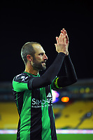 Western United's Andrew Durante thanks fans after the A-League football match between Wellington Phoenix and Western United FC at Sky Stadium in Wellington, New Zealand on Saturday, 22 May 2021. Photo: Dave Lintott / lintottphoto.co.nz