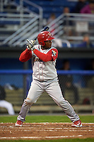 Williamsport Crosscutters catcher Jesus Posso (28) at bat during a game against the Batavia Muckdogs on August 27, 2015 at Dwyer Stadium in Batavia, New York.  Batavia defeated Williamsport 3-2.  (Mike Janes/Four Seam Images)
