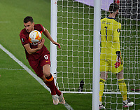 Football: Uefa Europa League - semifinal 2nd leg AS Roma vs Manchester United Olympic Stadium. Rome, Italy, May 6, 2021.<br /> Roma's Edin Dzeko (L) celebrates after scoring during the Europa League football match between Roma and Manchester United at Rome's Olympic stadium, Rome, on May 6, 2021.  <br /> UPDATE IMAGES PRESS/Isabella Bonotto