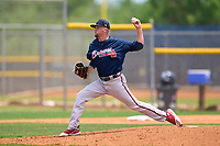 Atlanta Braves pitcher Tanner Lawson (8) during a Minor League Spring Training game against the Tampa Bay Rays on April 25, 2021 at Charlotte Sports Park in Port Charlotte, Fla.  (Mike Janes/Four Seam Images)
