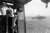 - Italian Navy, Vittorio Veneto cruiser, helicopter deck landing (May 1984)<br /> <br /> - Marina Militare Italiana, incrociatore Vittorio Veneto, appontaggio di un elicottero (Maggio 1984)