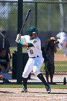 Oakland Athletics third baseman Jordan Diaz (6) at bat during an Instructional League game against the Cincinnati Reds on September 29, 2017 at Lew Wolff Training Complex in Mesa, Arizona. (Zachary Lucy/Four Seam Images)