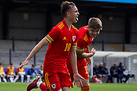 3rd September 2021; Newport, Wales:  Luke Harris of Wales celebrates his goal during the U18 International Friendly match between Wales and England at Newport Stadium in Newport, Wales.