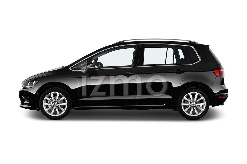 Car Driver side profile view of a 2014 Volkswagen GOLF SPORTSVAN Highline 5 Door Mini MPV 2WD Side View
