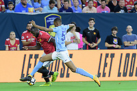 Houston, TX - Thursday July 20, 2017: Romelu Lukaku and Tosin Adarabioyo during a match between Manchester United and Manchester City in the 2017 International Champions Cup at NRG Stadium.