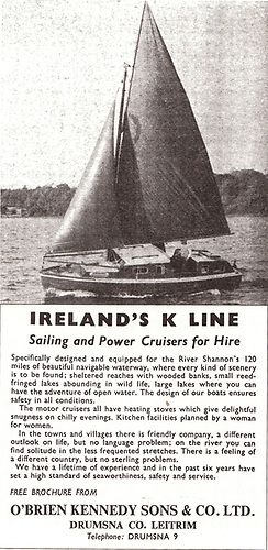 Pioneering the Shannon Hire Boat industry. While the initial base for K-Line and its associated boatyard was at Shannon Harbour in OPW premises, the wish was always to have a base they owned outright, and this advertisement was issued to signal the move to their own facilities at Drumsna on the North Shannon.
