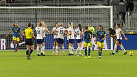 ORLANDO, FL - JANUARY 22: Lynn Williams #6 celebrates her goal with teammates during a game between Colombia and USWNT at Exploria stadium on January 22, 2021 in Orlando, Florida.
