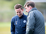 St Johnstone Training…04.05.18<br />Steven MacLean pictured with Tommy Wright pictured during training this morning at McDiarmid Park<br />Picture by Graeme Hart.<br />Copyright Perthshire Picture Agency<br />Tel: 01738 623350  Mobile: 07990 594431