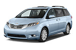 2015 Toyota Sienna Limited V6 8-Passenger 5 Door Mini Van Angular Front stock photos of front three quarter view