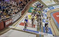 Iljo Keisse (BEL/Etixx-QuickStep) & Elia Viviani (ITA/SKY) greeting the crowds at the start of day 2. Followed by the Madison World Champions Mark Cavendish (GBR/Dimension Data) & Sir Bradley Wiggins (GBR/Wiggins)<br /> <br /> 2016 Gent 6<br /> day 2