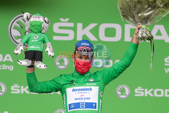 Mark Cavendish (GBR) Deceuninck-Quick Step retains the points Green Jersey at the end of Stage 16 of the 2021 Tour de France, running 169km from Pas de la Case to Saint-Gaudens, Andorra. 13th July 2021.  <br /> Picture: Colin Flockton | Cyclefile<br /> <br /> All photos usage must carry mandatory copyright credit (© Cyclefile | Colin Flockton)