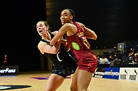24th September 2021: Christchurch, New Zealand;  Claire Kersten of the Silver Ferns and Layla Guscoth of England tussle for the balll during the third Cadbury Netball Series/Taini Jamison Trophy, New Zealand Silver Ferns versus England Roses, Christchurch Arena, Christchurch, New Zealand