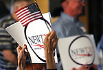 Supporters listen to Republican presidential candidate Newt Gingrich during a campaign stop at the Great Basin Brewing Company in Reno, Nev., on Wednesday, Feb. 1, 2012..Photo by Cathleen Allison