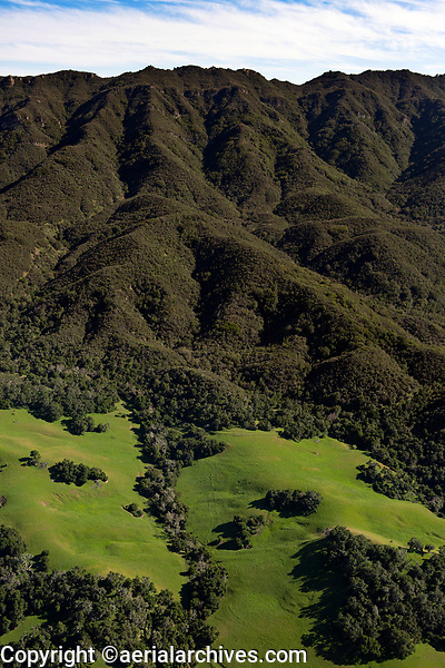 aerial photograph of Santa Ynez Valley mountains in spring, Santa Barbara County, California