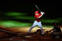Sept. 1, 2010; Phoenix, AZ, USA; Arizona Diamondbacks batter Stephen Drew bats in the sixth inning against the San Diego Padres at Chase Field. The Diamondbacks defeated the Padres 5-2. Mandatory Credit: Mark J. Rebilas-