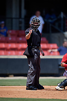 Umpire Kyle Nichol calls a strike during a Carolina League game between the Winston-Salem Dash and Carolina Mudcats on August 14, 2019 at Five County Stadium in Zebulon, North Carolina.  Winston-Salem defeated Carolina 4-2.  (Mike Janes/Four Seam Images)