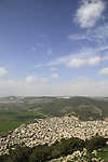 Israel, a view of Nazareth mountains and Jezreel Valley from Mount Tabor, Arab village Daburiya at its foothill