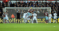 Pictured: James Collins of West Ham (19) fails to score with a header Saturday 10 January 2015<br /> Re: Barclays Premier League, Swansea City FC v West Ham United at the Liberty Stadium, south Wales, UK