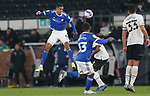 28.10.20 - Derby County v Cardiff City - Sky Bet Championship - Robert Glatzel of Cardiff tries a header